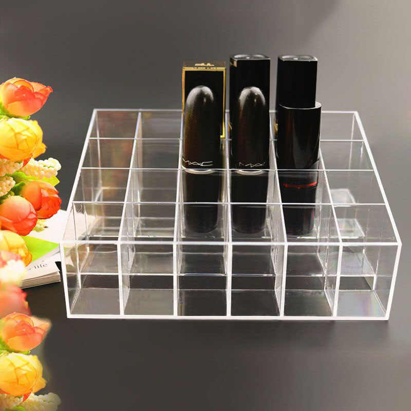 Portable Transparent 24 Grids Makeup Storage Box For Lipstick Holder Organizer Nail Polish Display Stand