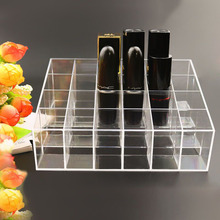 Portable Transparent 24 Grids Makeup Organizer Storage Box Lipstick Holder Organizer Nail Polish Display Stand Organizador