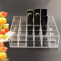 Portable transparente 24 rejillas Organizador de maquillaje caja de almacenamiento soporte de lápiz labial Organizador de esmalte de uñas soporte de exhibición Organizador