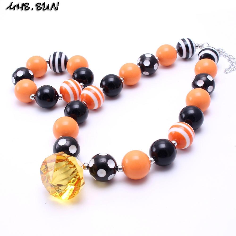 MHS.SUN New 2sets Fashion Halloween Kid Chunky Necklace Jewelry Set Girl Children Bubblegum Bead Chunky Necklace Bracelet Set