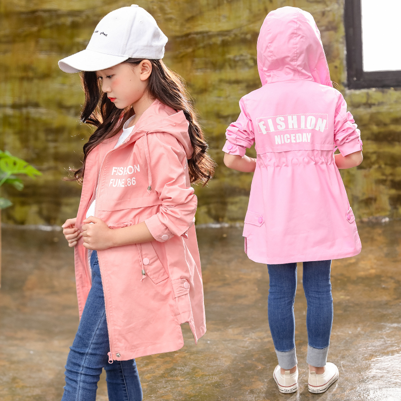 Girls Baseball Jackets 2018 Autumn Outfits Long Style Cardigan Trench Coat for Kids Teenage Girls Coat Cotton Outerwear Jackets цены