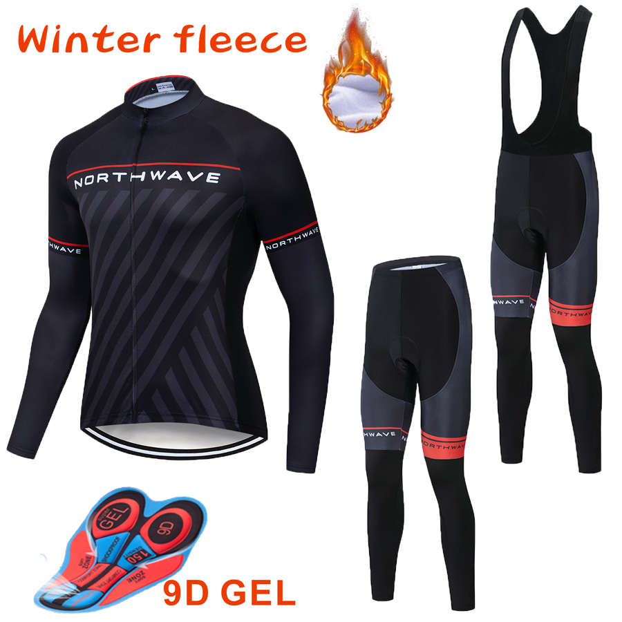 <font><b>NW</b></font> <font><b>2019</b></font> Keep warm Cycling Team Polar Winter Men's Clothing Long Sleeve Jersey Set outdoor activities Bike <font><b>Northwave</b></font> set image