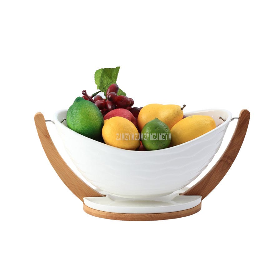 Multi functional Ceramic Fruit Drain Basket With Bamboo Tray Vegetable Basket Portable Home Kitchen Fruit Storage Basket M/L|Dishes & Plates| |  - title=