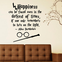 Albus Dumbledore Happiness Can Be Found Humor Philosophy Quote Harry Potter Wall Stickers For Nursery Decor