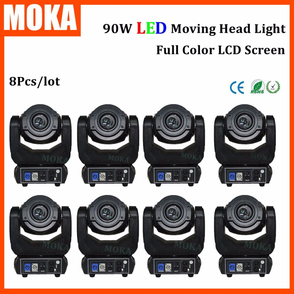 8 Pcs/lot 90W SPOT led moving head light Gobo Washer 4in1 rgbw Stage Dj Light  DMX 512 for Party KTV Club Wedding DJ disco 4piece lot 3x3 led matrix moving head light matrix rgbw 4in1 9x10w led cree led stage lights