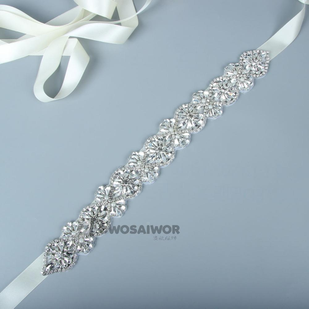 Crystal Rhinestone Wedding Belt Female Cummerbunds Bridal Belt Sash Wedding Dress Accessories Narrow  Pearl Sashes
