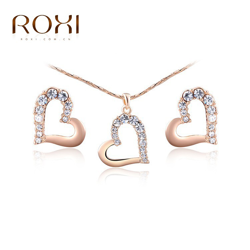 ROXI Happiness Heart Shape Crystal Stud Earrings Chain Necklace Rose Gold  Color Wedding Jewelry Set Romantic Wedding Gift 3ec39f3214cf