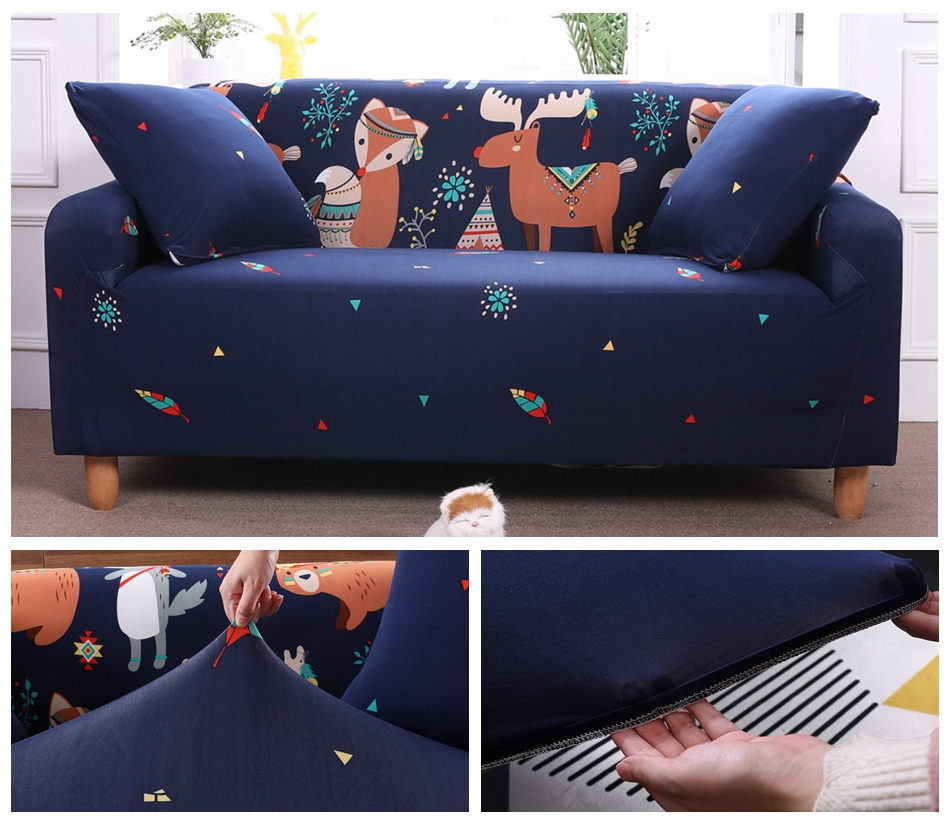Christmas Cartoons Animals Loveseat Sofa Couch Slipcover