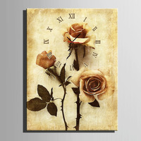 Free Shipping E HOME A Yellowed Rose Clock in Canvas 1pcs wall clock 17121114