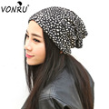 New Two Use Magic Hat Scarf Female Cap Knitted Hats for Women Fashion Dots Leopard Print Skullies Beanies Empty Hat M0586