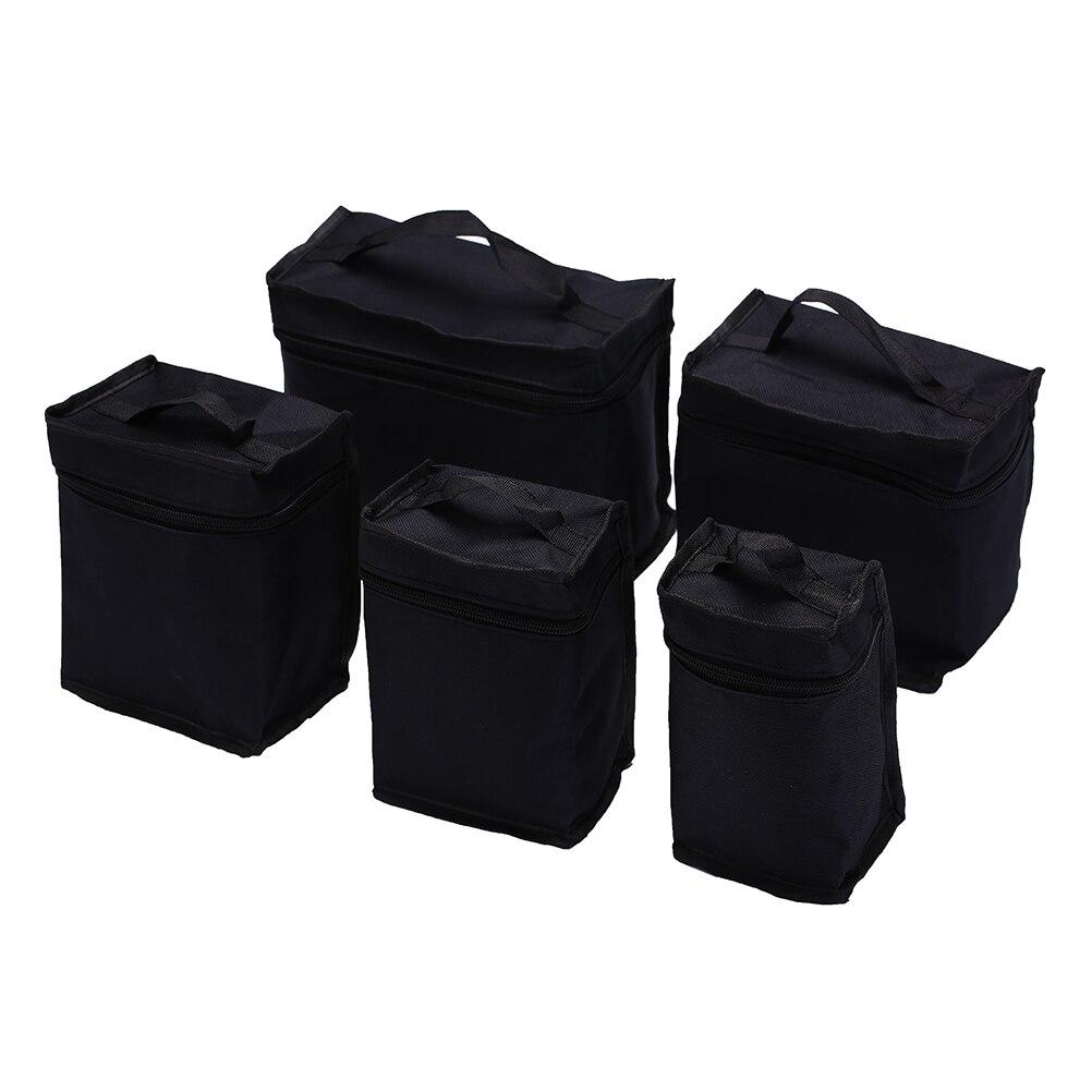 Black Large Capacity Zipper Pencil Bag Folding Art Markers Zipper Canvas Storage Pencil Bag Hold For Markers Pen