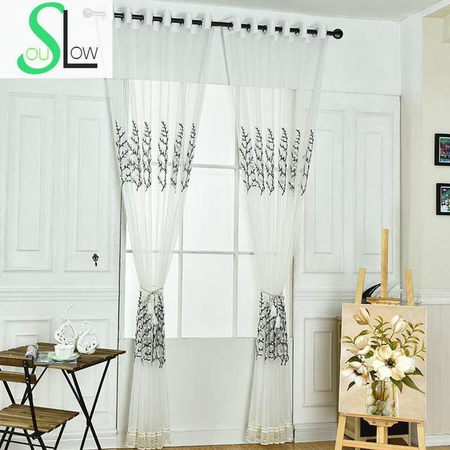 Slow Soul Black White Towel Embroidered Curtain Decorative Tree Curtains Tulle Cortinas For Living Room Kitchen Sheer Bedroom
