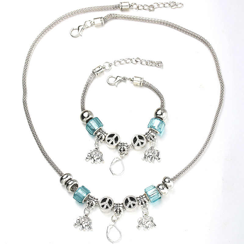 6 Colors Elephant Necklace Bracelet Set Fine Silver Bead Hollow Chain Beaded Bracelet With Hook DIY Making Pendant Jewelry 050