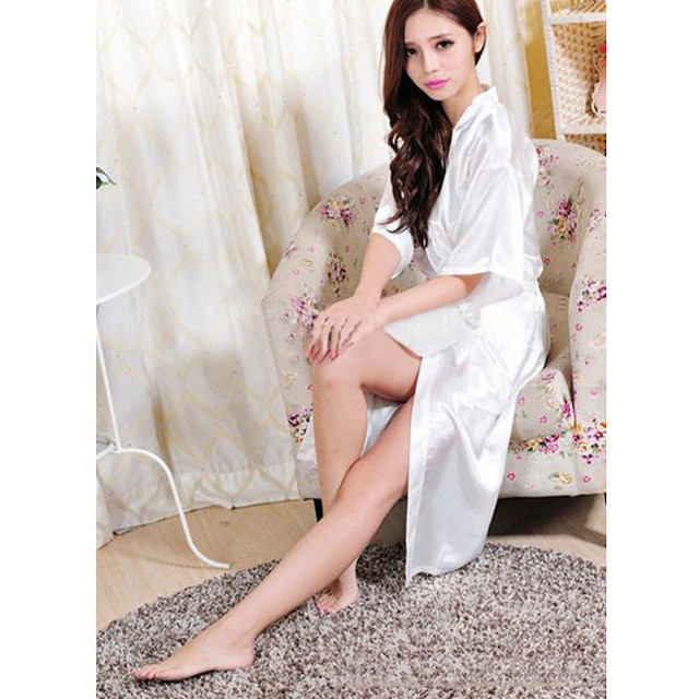 White Chinese Women Rayon Robe Sexy Lingerie Summer Lounge ...