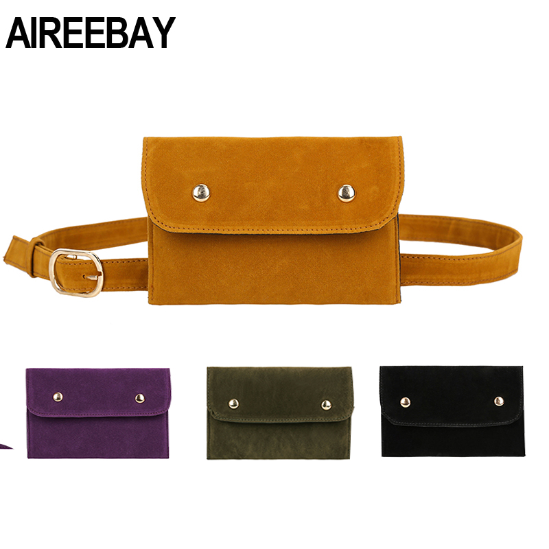AIREEBAY Women Belt Bag Leather Waist Bag Fashion Women's PU Messenger Shoulder Chest Bag Vintage Style Fanny Pack For Girls