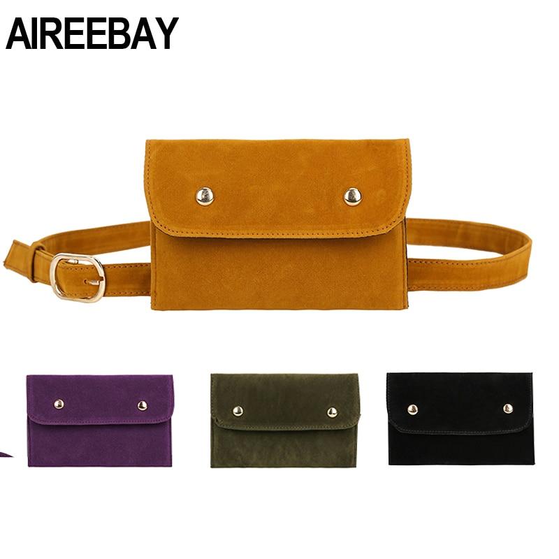 AIREEBAY Women Belt Bag Leather Waist Bag Fashion Women's PU Messenger Shoulder Chest Bag Vintage Style Fanny Pack For Girls