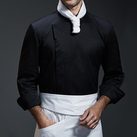 White Gray Black Long Sleeve Shirt Luxury Hotel Restaurant Kitchen Chef Uniform Bistro Baker Bartender Catering Work Wear B96