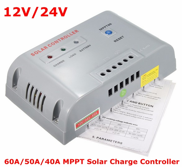 MPPT Solar Charge Controller 12V/24V 60A/50A/40A Solar Controller 7 Protections Controller Charge and Discharge SOC Function 3a 6v 12v mini solar charge and discharge controller waterproof load working 24 hours