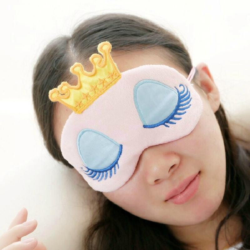Portable Lovely Cute Cotton Long Eyelashes Crown Style Eye Shade Sleeping Eye Mask Sleep & Snoring crown plush eye mask