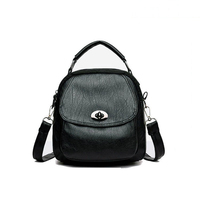 New Fashion Women Soft Black PU Back Pack Bag Casual Tide Ladies Business School Backpack Gifts