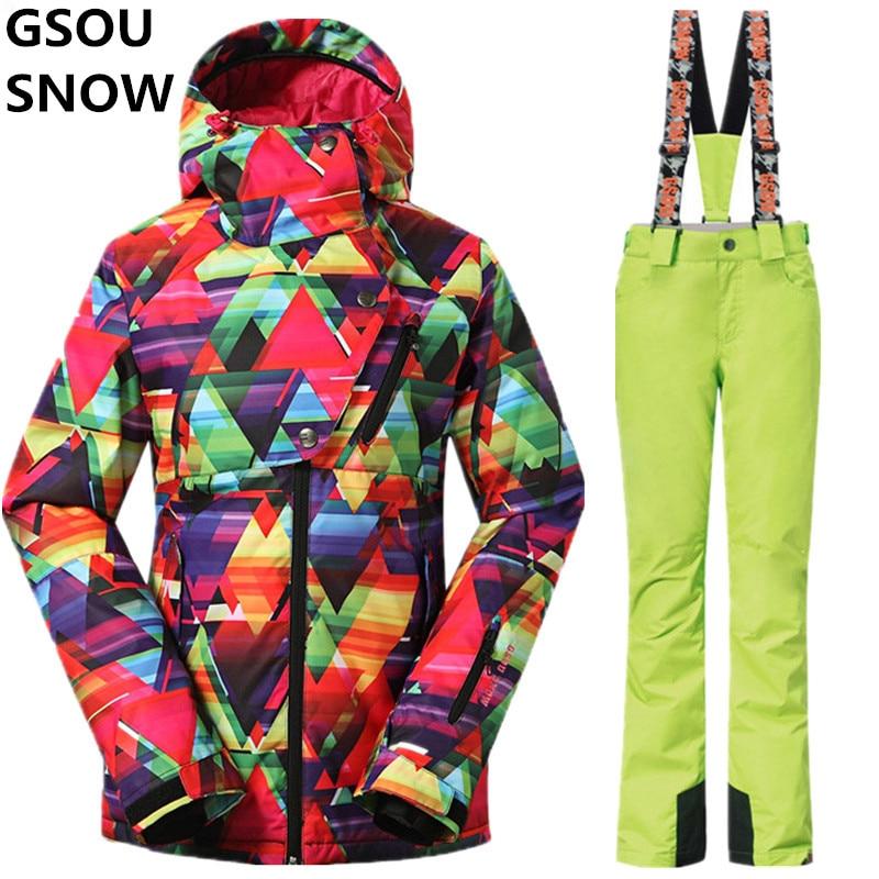 Gsou Snow Women Winter Snowboard Suits Ladies Waterproof Pants + Jacket Breathable Ladies Ski Suit Winter-Women-Jacket-Pants