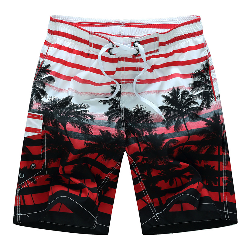 2019 nuevo verano hombres calientes pantalones cortos de playa de secado rápido árbol de coco impreso elástica cintura 4 colores M-6XL envío de la gota AYG219