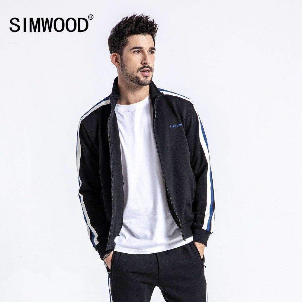 SIMWOOD 2019 Printemps Hoodies Hommes Vestes Casual Zipper Shirts Mode Rayé Slim Fit Marque Polaire Survêtement 190009