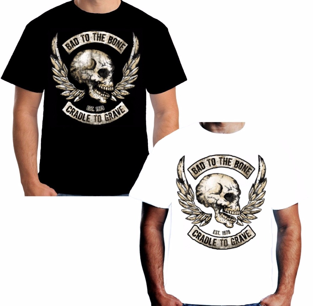 Shirt design latest 2017 - 2017 Latest Cotton Design 3d Shirt Men Bad To Bones T Shirt Motorcycle Skull Knight