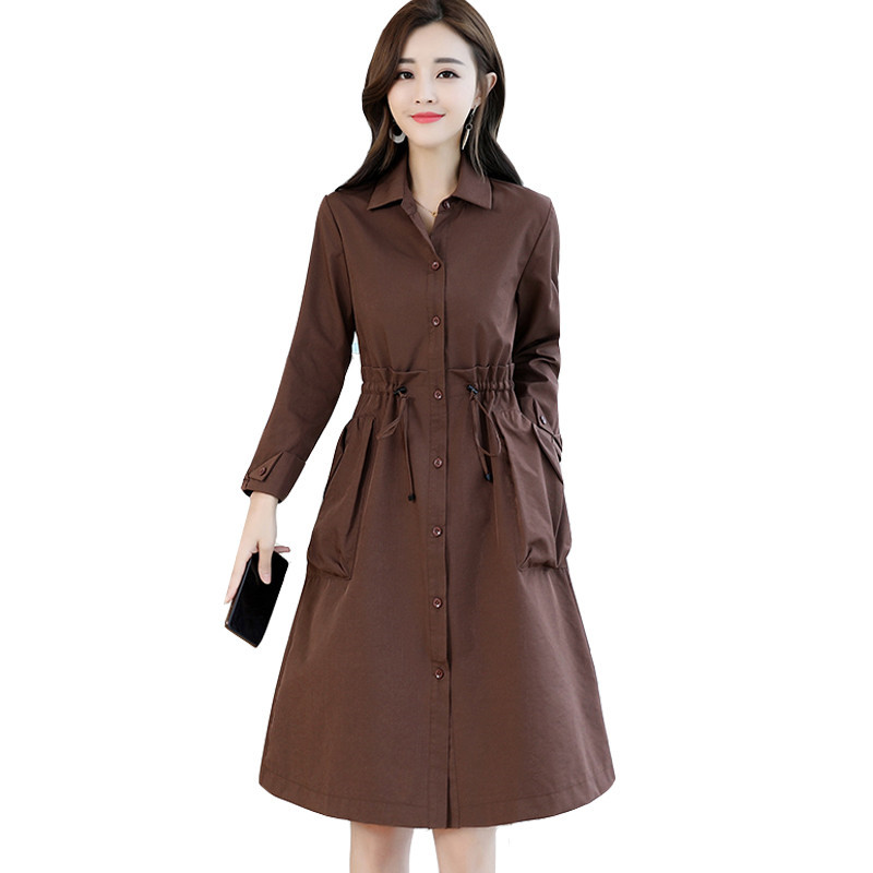 Autumn Women Single-breasted Long   Trench   Coat Khaki With Elastic Band Casual Office Lady Business Outwear Women's Clothing L253