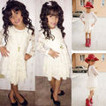 Girls Summer Flower Hollow Out Dresses Baby Girl Kids Princess Party White Tulle Tutu Gown Floral Formal Dress A