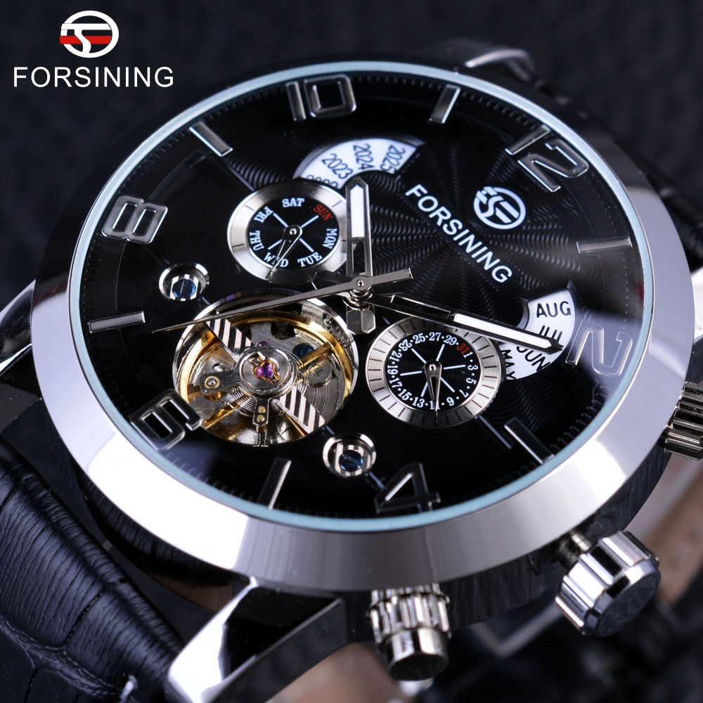 Forsining 5 Hands Tourbillion Fashion Wave Dial Design Multi Function Display Automatic Mens Watches Top Brand Luxury Mechanical
