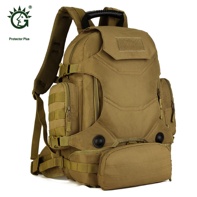 b5c39e30f5e5 Protector Plus Military Backpack Men 40L Waterproof Backpack Tourist  Camouflage Bag Wear-resisting 14 inch Laptop Bag P013