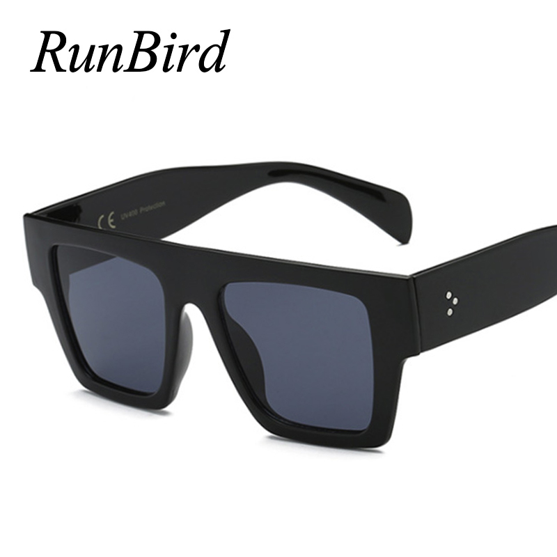 RunBird Flat Top Oversize Square Sunglasses Women Brand Designer Decoration Gradient Shades Black Red Sunglasses For Men 5357