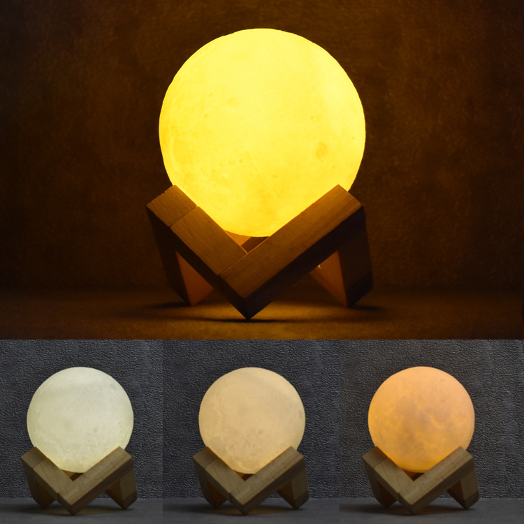 3D moon light color colorful touch remote control energy-saving LED lamp bedside light control USB charging Nightlight