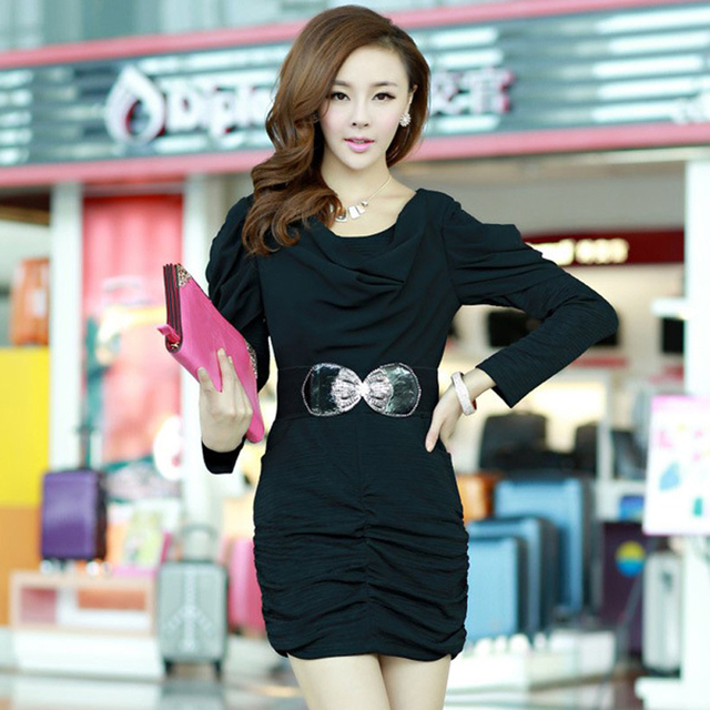 Free shipping 2013 autumn new arrival women's fashion sexy formal ol pleated slim hip one-piece dress 0225851352