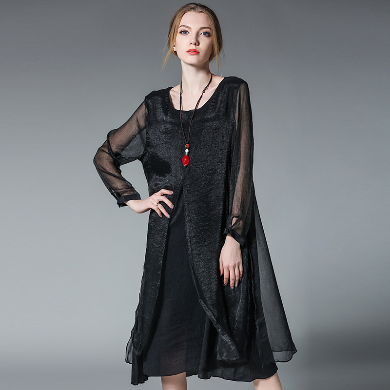 2017 Summer fashion women elegant silk long dress long sleeve loose fit faux two chiffon dress