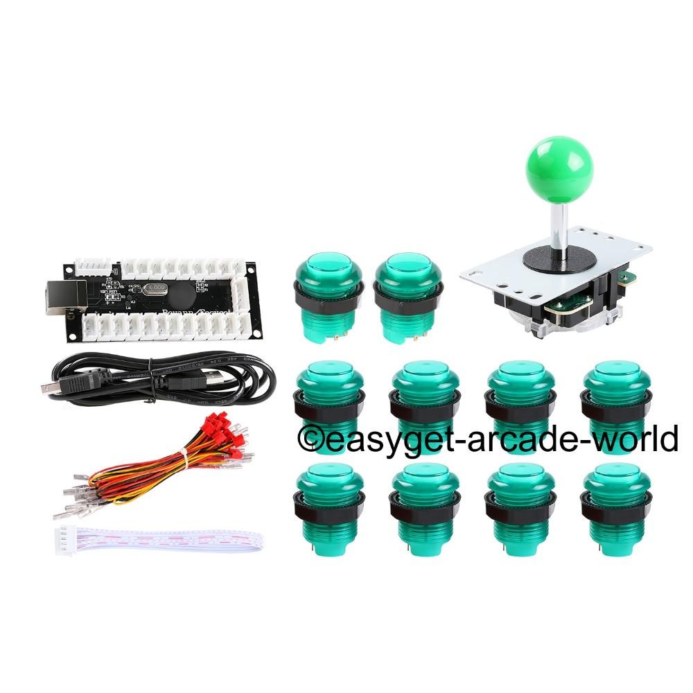 Reyann Green Arcade Control Panel LED Illuminated Bundle Kit, 1 x Joystick, 10 x LED Illuminated Tombol USB MAME DIY Project