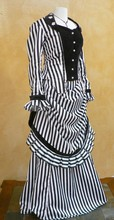 Custom Made Circa 1870's Steampunk Striped Bustle Gown Victorian Historical Costume/Period Dresses