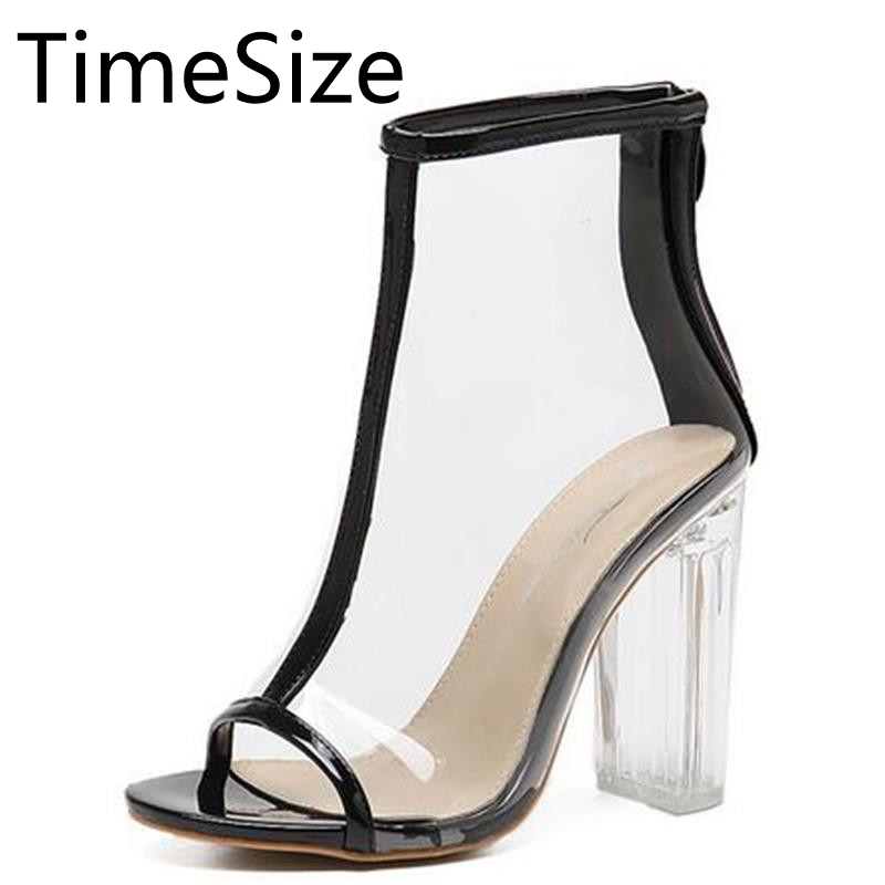 Time Size Women Sandals Perspex High Heels PVC Clear Crystal Classic Open Toe Ankle Boots High