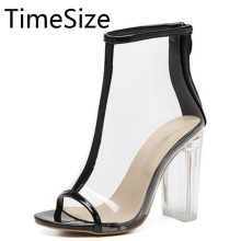 Time Size Women Sandals Perspex High Heels PVC Clear Crystal Classic Open Toe Ankle Boots High Quality Fashion Shoes Woman Pumps