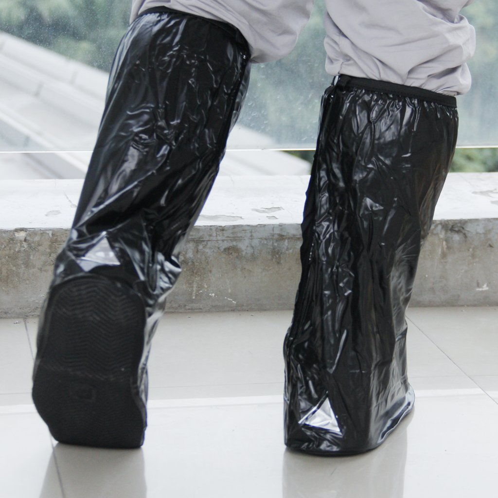 Waterproof and non-slip shoes covers Rain boots Reflective bike motorcycle riding Black XXL