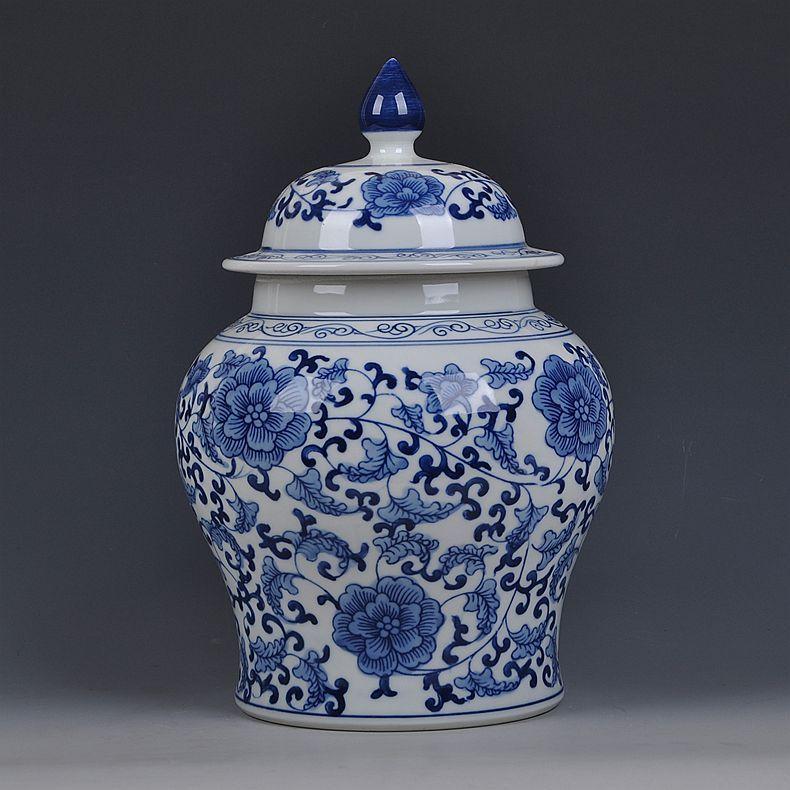 Jingdezhen Blue And White Temple jar vase Storage pot Tea Chinese ginger jar Vintage Vases Decoration porcelain ceramic jar vase