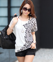 Plus size women clothing summer sexy tops tee clothes Loose printing bats shirt