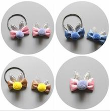 NEW Kids cartoon pompom ball hair bow elastic band girls rubber girl bunny ears clip toddlers accessories