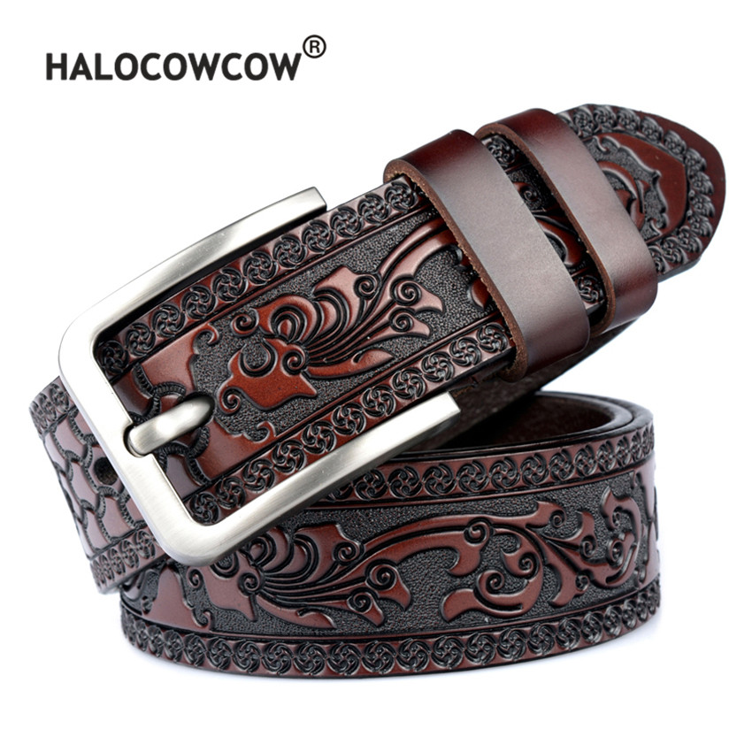 Humble Men Top Quality Vintage Carved Flower Designer Real Genuine Leather Belt For Mens Cow Leather Belts Male Cinturones Para Hombre Apparel Accessories