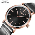 Super Slim Mens Watch Top Luxury Brand GUANQIN Ultra Thin Watch Men Quartz-Watch Leather Waterproof Relogio Masculino Esportivo