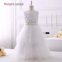 Vivian S Bridal Beaded Flower Girl Dresses Ball Gown Tiered Tulle First Communion Dresses For Girls