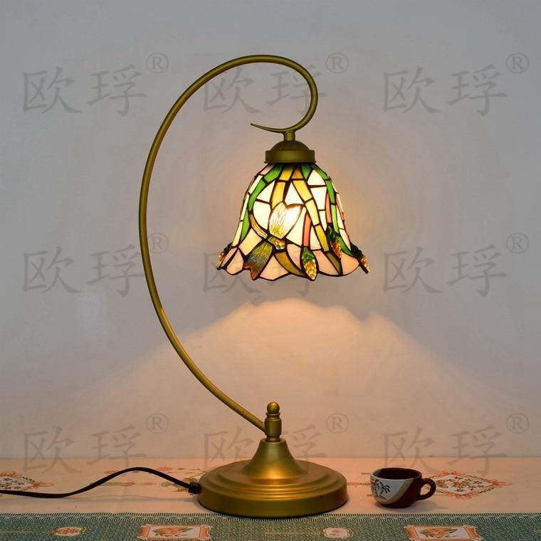 11 дюймов плоти страна цветы Тиффани настольные лампы страна Стиль пятнистости Стекло лампы для Спальня ночники E27 110- 240 В