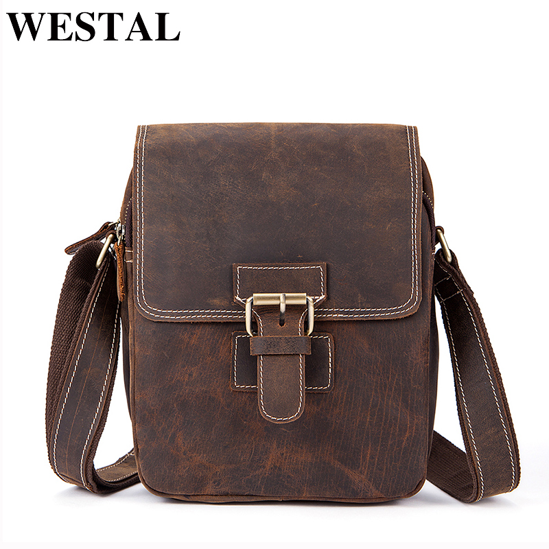 WESTAL Men Bag Leather Vintage Crazy Horse Crossbody Bags Hasp Messenger Bag Men Leather Small Genuine Leather Shoulder Bag 3553 simline 2017 vintage genuine crazy horse leather cowhide men men s messenger bag small shoulder crossbody bags handbags for man