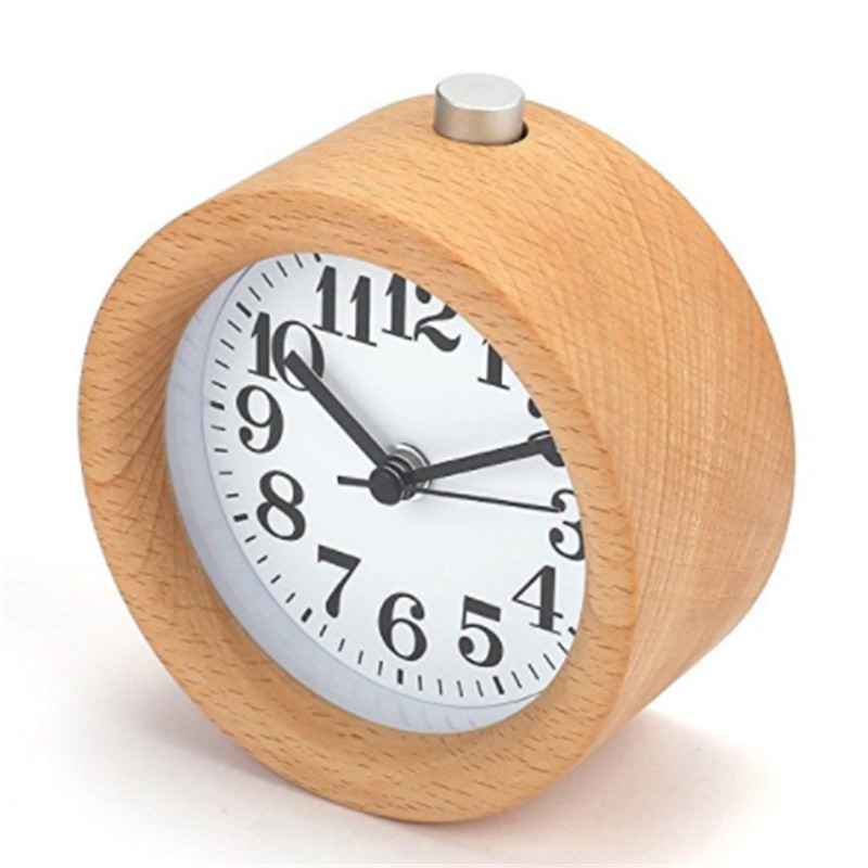 Handmade Classic Small Round Wood Silent Desk Alarm Clock With Desk Lamp for Home
